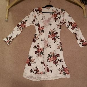 Charlotte Russe cream floral sweater cardigan